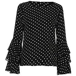 VECDY Moda Camisa Mujer Trompeta Manga Larga Suelta Lunares En Blanco Y Negro Camiseta Tops De Primavera Camisa Casual De Mujer(Negro ,L)
