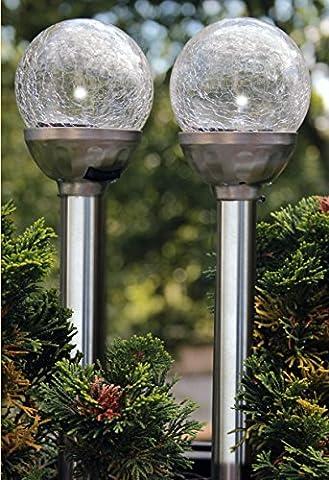 Lot de 2Lampe solaire LED Boule de verre Acier inoxydable
