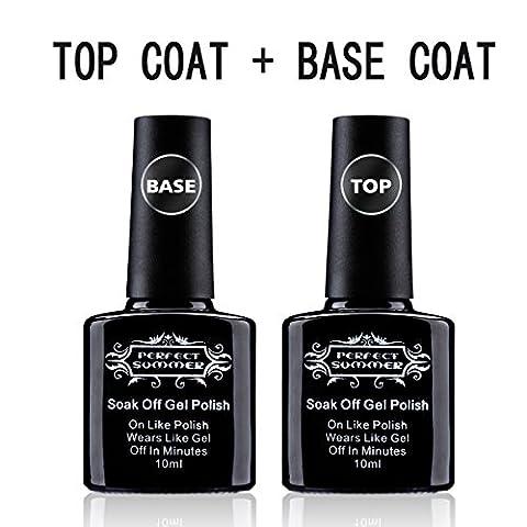 Perfect Summer Top Coat + Base Coat Gel Polish Clear Colour Soak Off UV LED Manicure Nail Starter