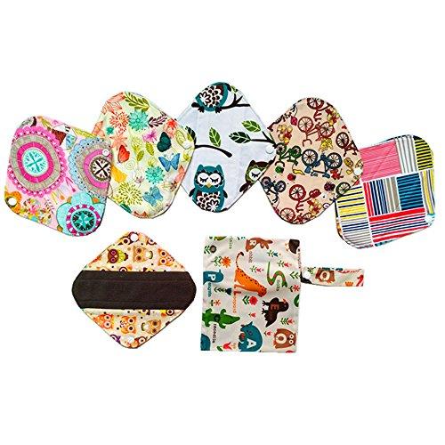 Wiederverwendbare, waschbare Slipeinlagen aus Holzkohle-Bambustuch, Menstruation-Pads, 6Stück, 20,3cm, + eine Tasche -