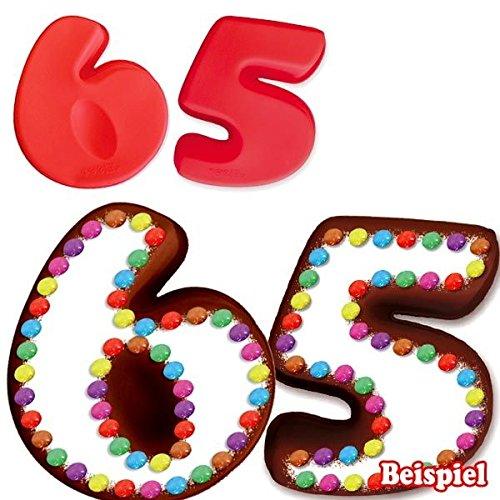 Preisvergleich Produktbild Backformen-Set Zahl 6 und 5 für 65. Geburtstag / Hochzeitstag,  Silikonbackformen