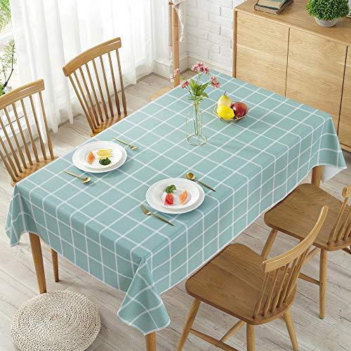 Tischdecke Pvc Tischdecke Plaid-Stil Hotel Konferenzraum Staub Tischdecke Punktdruck Öl-Wasserdichte Tischdecke Pvc Grün Großes Quadrat 120X170Cm
