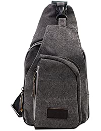 PsmGoods® Männer Umhängetasche Freizeit-Segeltuch-Taschen Reisen Wandern Tasche Rucksack Chest Pouch Sling (Grau)