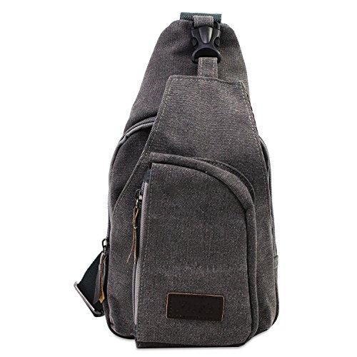 PsmGoods® Männer Umhängetasche Freizeit-Segeltuch-Taschen Reisen Wandern Tasche Rucksack Chest Pouch Sling (Grau) - Id-abzeichen-träger