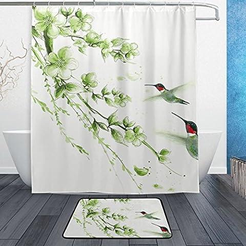 baihuishop Watercolor Kolibri Blume 3-teiliges Badezimmer Set, maschinenwaschbar für den täglichen Gebrauch, inkl. 152,4x 182,9cm Wasserdicht Duschvorhang, 12Dusche Haken und 1rutschfeste Badezimmer Teppich Teppich -
