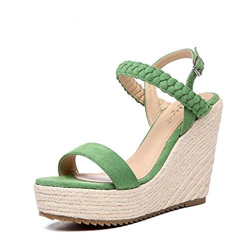Hyun Times Chaussures de Mode D'Été avec Sandales vernissantes vernissantes en Vert