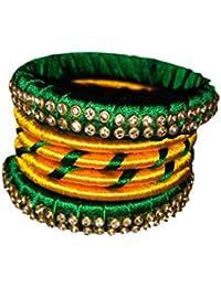 Chaitanya Silk Thread Jewellery Multi Colour Silk Thread Bangle Set For Women - B078C5CPLV