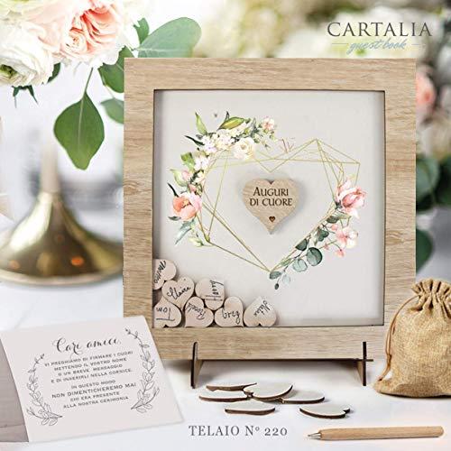 Guest book matrimonio cornice rovere sbiancato con cuori di legno con decori floreali libro degli ospiti personalizzato con nomi e data delle Nozze Regalo Vintage