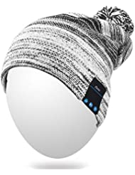 Qshell invierno cómodo Bluetooth Beanie Hat Cap Pom de la música con los altavoces de micrófono manos libres inalámbrico Bluetooth Auricular estéreo del auricular para Correr Esquiar Patinaje Senderismo Footing, regalos de la Navidad - Negro
