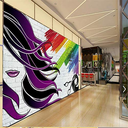 Steaean Papel Tapiz Mural Papel Fotográfico Peluquería 3D Pintura De Pared De Ladrillo Pintura Mural Pintura De Peluquería Se Puede Personalizar, 250 * 175 Cm