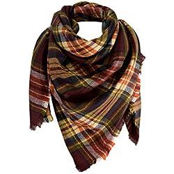 Peach Couture cálido tela escocesa de gran tamaño manta de flecos para decoración bufanda chal Wrap