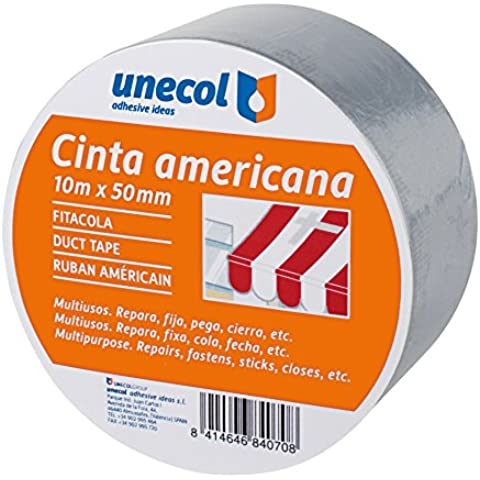 Unecol 8407 - Cinta americana (rollo, 10 m x 50 mm) color gris