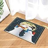 fuhuaxi Kreative Frohe Weihnachten, Schneemann, Geschenk, runde Mondbadewanne, Rutschfeste, Rutschfeste Bodentür, Türmatte, Badematte 40x60cm, Badematte