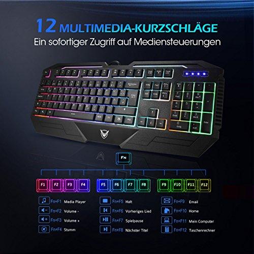 Gaming Tastatur, Pictek 26 Key Anti-Ghosting-Tastatur mit verstellbarer Rainbow LED-Hintergrundbeleuchtung, ergonomische Handballenauflage, wasserdichte Computer-Tastatur für Gamer-Typisten - 4