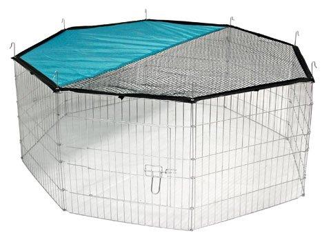 Preisvergleich Produktbild Freilaufgehege Kaninchen-Käfig 143 x 57 cm mit Tür, Netz und Sonnenschutz Hasen Kaninchengehege Kaninchenauslauf Auslauf Freilauf Kaninchenkäfig Meerschweinchen