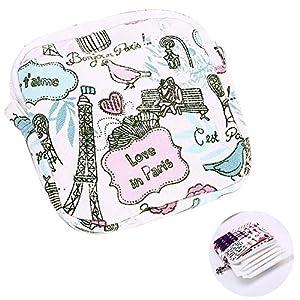 "Hilai 1PC Sanitary Napkins Bag Menstrual Cup Pouch Nursing Pad Holder Cute Washable Organizer Storage 4.5""x4.5""?Tower?"