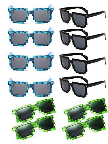 TonJin Sonnenbrille für Party Pixel Sonnenbrille Neuheit Retro Gamer Geek Brille Kostüm Sonnenbrille für Kinder Erwachsene Party Favors