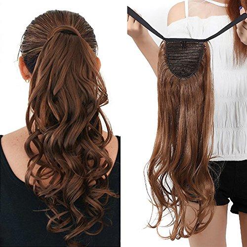 Coleta postiza ondulada de 45,72 cm, extensión de cabello (fijación