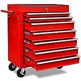Festnight Carrello portautensili con 7 cassetti rosso per garage