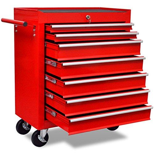 Festnight Werkstattwagen Werkzeugwagen mit 7 Schubladen und 4 Lenkrollen Stahl Rot