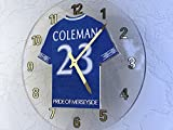 EVERTON FC FOOTBALL CLUB WALL CLOCK - ANY NAME & NUMBER, YOU CHOOSE - BRAND NEW ACRYLIC SHIRT DESIGN