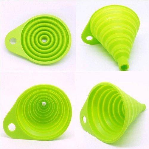 MFEIR® Entonnoir pliant portatif pratique en silicone Outil de cuisine,Vert