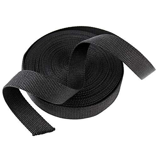 SUNTATOP 10M/11 Verges en Nylon Sangle Lourde Nylon Ruban D'Artisanat Bricolage Sac À Dos Cerclage Accessoires (Section Épaisse Noire)