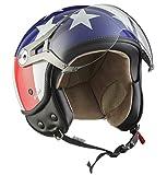SOXON SP-325 Usa · Biker Bobber Cruiser Roller-Helm Vintage Mofa Helmet Chopper Pilot Vespa-Helm Retro Scooter-Helm Jet-Helm Motorrad-Helm · ECE zertifiziert · mit Visier · inkl. Stofftragetasche · Blau · S (55-56cm)
