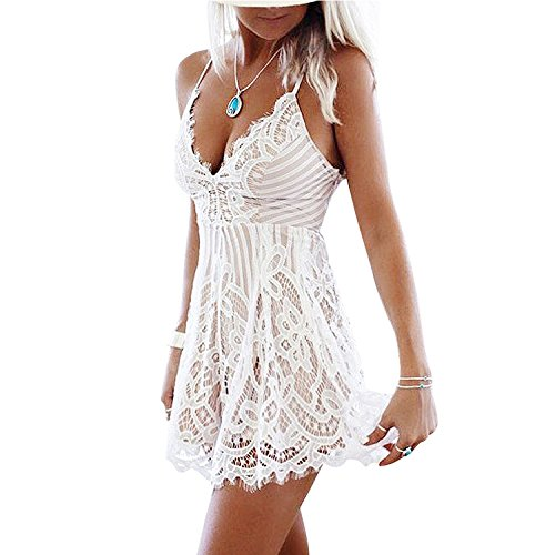 Damen Lace V Ausschnitt Schleuder Ärmellos Boho Spitze Exquisit Kurz Jumpsuits Shorts Einteiler Bandage Overall Lace Hollow V-Neck High Taille Kleid Casual Mini Dress Weiß L (Damen Kleine Kleid Rock)