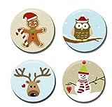 Polarkind Button Anstecker Sticker Set Weihnachten Geschenk Adventskalender Schneemann Eule Rentier Lebkuchenmann 38mm