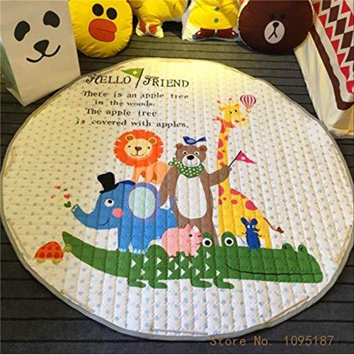 LZBDKM Teppich Wohnkultur Kinderzimmer Teppich Runde 150 * 150 cm Fox Babyspielmatte Patchwork Picknickdecke 150x150 cm Wald