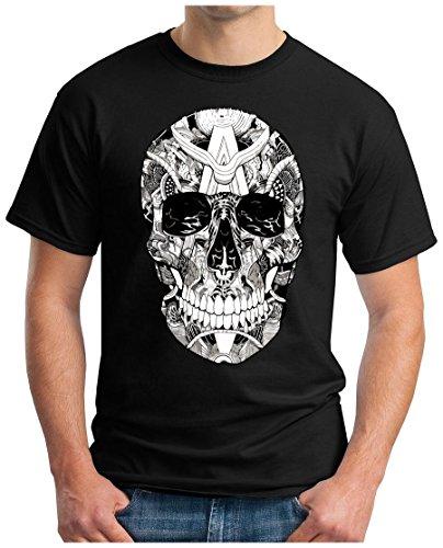OM3 - SKULL - T-Shirt SUNGLASSES TOTENKOPF 666 ROCKER BIKER ROCK HEAVY METAL MUSIC USA GEEK SWAG NYC, S - 5XL Schwarz
