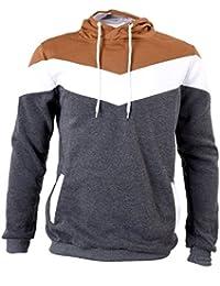 SODIAL (R) Nueva Otono Invierno mosaico con capucha delgado grueso sudadera de vellon ropa de hombre Gris oscuro - L