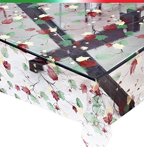 Tovaglia trasparente vendita al metro altezza 140cm antimacchia foglie mod.kristal96