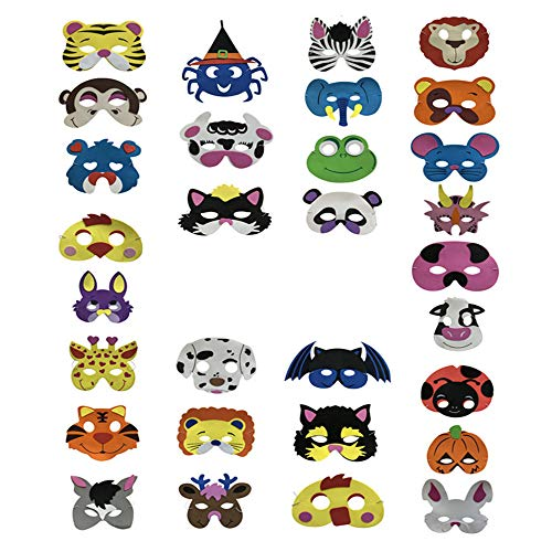 30 Piezas Máscaras de animales de espuma Día de los niños Disfraz de Navidad de Halloween Apoyos de fotos Fiesta de disfraces