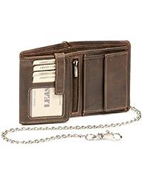 Biker Portefeuille avec la chaîne chrome pour homme et femme format portrait (y compris la boîte-cadeau de LEAS) LEAS, cuir véritable, marron - ''LEAS Vintage-Collection''