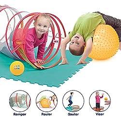 Parcours de motricité   Ludi   Tunnel de jeu + 3 arceaux de différentes hauteurs + grand ballon à picots + petit ballon souple + tapis de sol 6 dalles   Pack complet babygym   Dès 2 ans