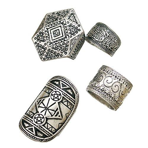 Rechicgu Pack 4Hombres Vintage plata tribal puntas