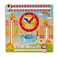 Amasawa Kids Brain Game Educational Wooden Clock Toy Calendar Board Teaching Season Weather for 3 Year Olds And Up (Wood)