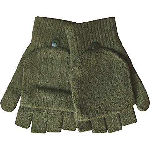Mitaines en tricot thermique pour homme 2en 1Combo Mitaines et moufles - vert - Taille Unique