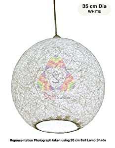 Salebrations 35 cm Dia White Hanging Ball Lamp Shade With Yarn And Led Bulb