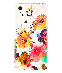 Sony Xperia M4 Aqua Beautiful Flower Canvas Art Painting Design Printed Back Cover Hybrid Strong Polycarbonate Hard Case Cover With Premium Quality and Matte Finish by Print Vale