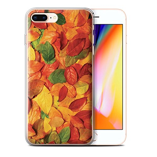 Stuff4 Gel TPU Hülle / Case für Apple iPhone 8 Plus / Sykomore/Golden Muster / Herbstblätter Kollektion Nussbaum/Orange