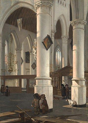 Das Museum Outlet–Innere der Oude Kerk in Delft. 1650–52, gespannte Leinwand Galerie verpackt. 29,7x 41,9cm