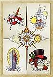 Tattoo - Circle of Life - Fantasy Poster Tribals - Grösse 61x91,5 cm + Wechselrahmen der Marke Shinsuke® Maxi aus schwerem MDF Holzfaserwerkstoff, Holzoptik Buche Nachbildung - mit Acrylglas-Scheibe.