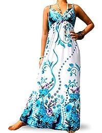 Robe Longue Femme Angela Rope - Bleu et blanc, 36-38