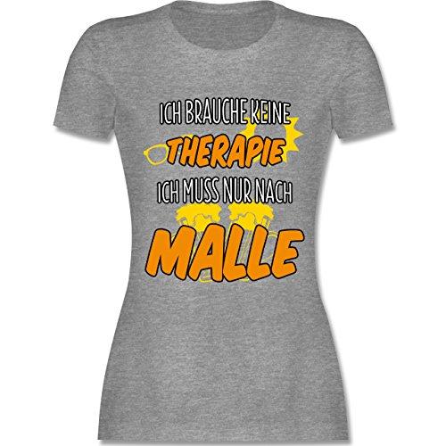 Urlaub - Ich Brauche Keine Therapie ich muss nur nach Malle - M - Grau meliert - L191 - Damen Tshirt und Frauen T-Shirt