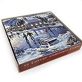 Medici XMLA 0004 Weihnachtskarten – Eislaufen am See, 15 x 15 cm, 12 Stück