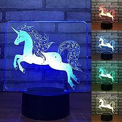 LEDMOMO Interruptor táctil de lámpara 3D Control Remoto Cambio de Color de luz Nocturna (Unicornio)