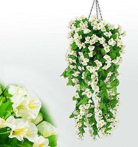 SCLOTHS Künstliche Blumen Wohnaccessoires Wand montiert Niou HUA Decke Flansch Weinstock Zwei Balken Weiß